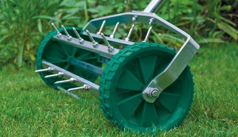 aerating a lawn with spikes