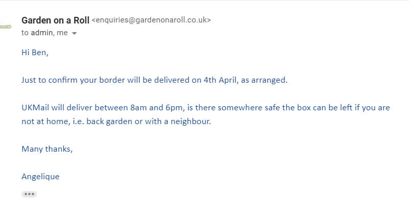 garden on a roll delivery confirmation